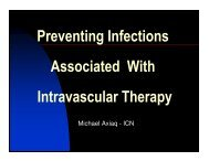 Preventing Infections Associated With Intravascular Therapy