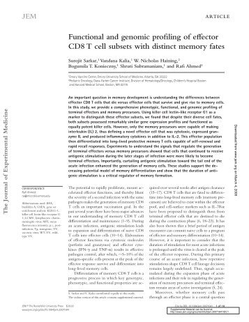 Functional and genomic profiling of effector CD8 T cell subsets with ...