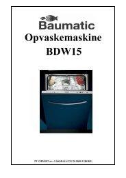 Opvaskemaskine BDW15 - VM Elektro