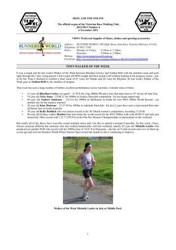 Heel and Toe 2012/2013 Number 6 - Victorian Race Walking Club
