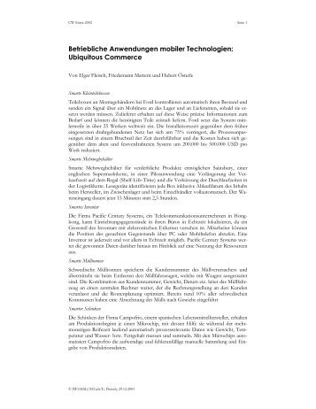 Betriebliche Anwendungen mobiler Technologien - The Distributed ...