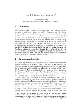Modellbildung und Simulation 1 Simulation 2 Anwendungsbereiche