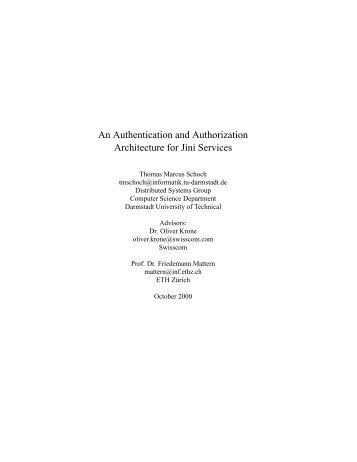 An Authentication and Authorization Architecture for Jini Services