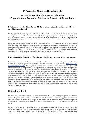 L' Ecole des Mines de Douai recrute un chercheur Post-Doc sur le ...