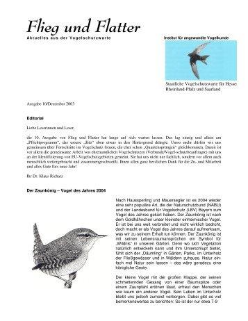 Flieg und Flatter - Staatliche Vogelschutzwarte für Hessen ...