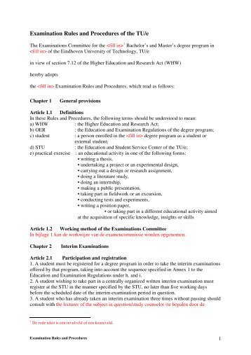 Examination Rules and Procedures of the TU/e