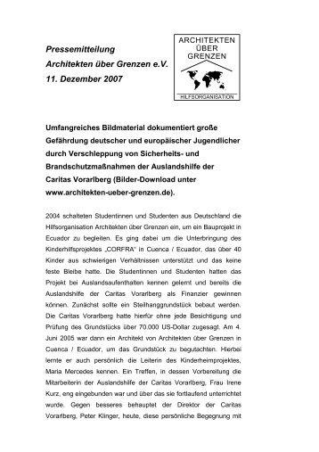 Pressemitteilung Architekten über Grenzen e.v. 11. Dezember 2007