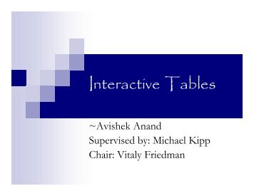 Interactive Tables - About
