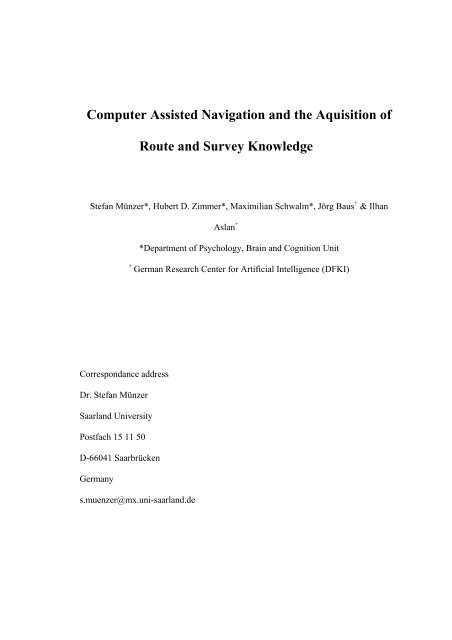 Computer Assisted Navigation and the Aquisition of Route ... - About