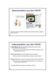 Datenextraktion aus dem WWW Datenextraktion aus dem WWW