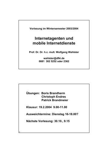 Internetagenten und mobile Internetdienste