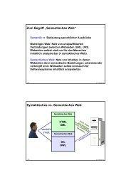 """Zum Begriff """"Semantisches Web"""" Syntaktisches vs. Semantisches Web"""