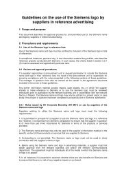 Guideline Reference Advertisement for Siemens Suppliers