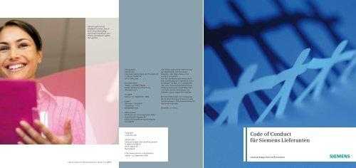 Code of Conduct für Siemens Lieferanten