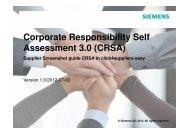 Corporate Responsibility Self Assessment 3.0 (CRSA) - Siemens