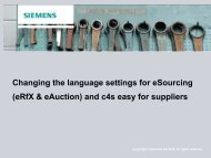 Changing Language Settings for c4s easy and eSourcing - Siemens