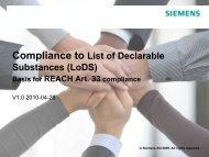 Compliance to List of Declarable Substances (LoDS) - Siemens