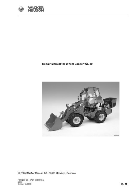 repair manual for wheel loader wl 30 wacker neuson. Black Bedroom Furniture Sets. Home Design Ideas