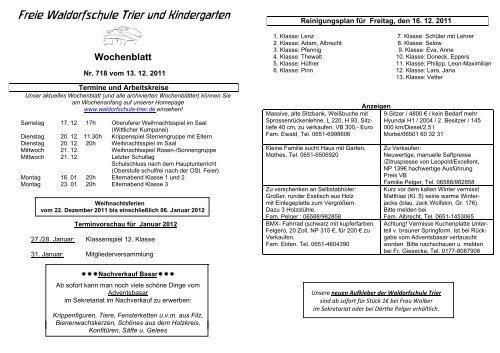 Wochenblatt Nr 718 Freie Waldorfschule Trier