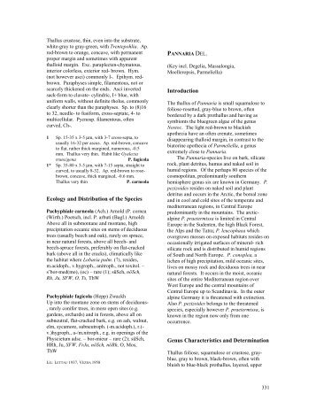 Ecology and Distribution of the Species ... - Lichens of Wales