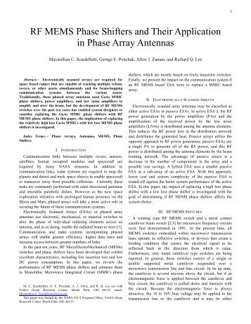 RF MEMS Phase Shifters and Their Application in Phase Array ...