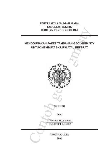 Universitas Gadjah Mada Fakultas Teknik Jurusan Teknik Geologi