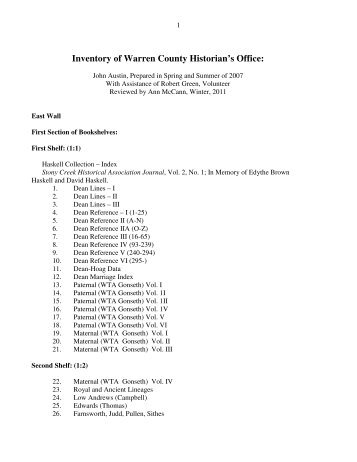 Inventory of Warren County Historian's Office: