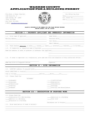 warren county warren county application for a building permit ...