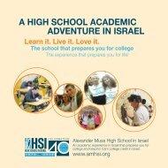 A HIGH SCHOOL ACADEMIC ADVENTURE IN ISRAEL