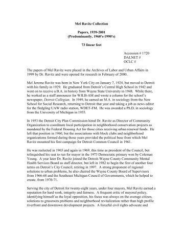 Mel Ravitz Papers - Walter P. Reuther Library - Wayne State University