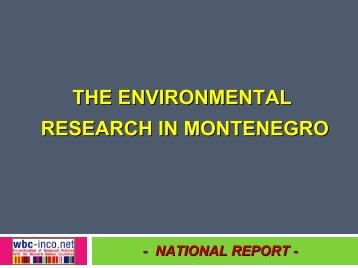the environmental research in montenegro - WBC-INCO Net