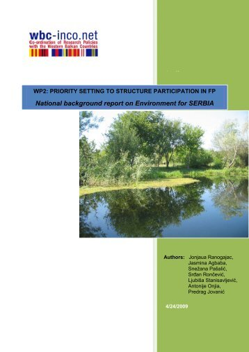 National background report on Environment for ... - WBC-INCO Net