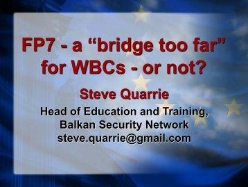 "FP7 - a ""bridge too far"" for WBCs - or not? - WBC-INCO Net"
