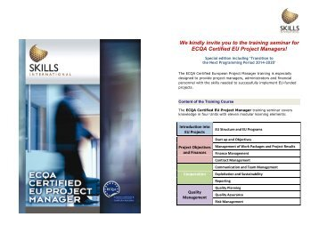 We kindly invite you to the training seminar for ... - WBC-INCO Net
