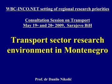 Presentation Transport in Montenegro - WBC-INCO Net