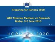 Preparing for Horizon 2020 WBC Steering Platform ... - WBC-INCO Net