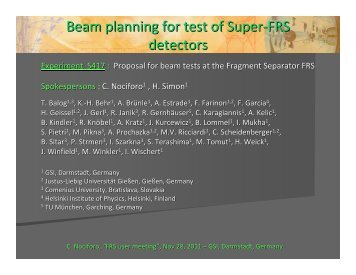 Beam planning for test of Super-FRS detectors - GSI