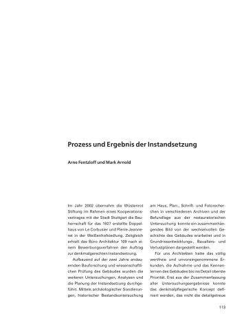 Prozess und Ergebnis der Instandsetzung - Architektur 109