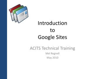 Introduction to Google Sites