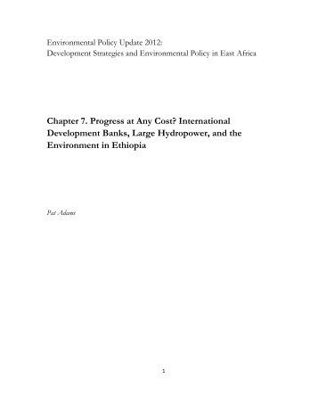 International Development Banks, Large Hydropower, and the ...