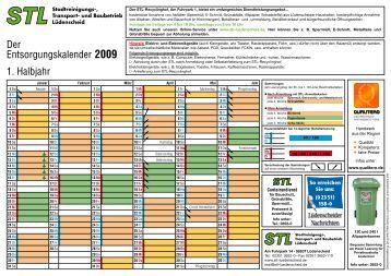 Der Entsorgungskalender 2009 1. Halbjahr