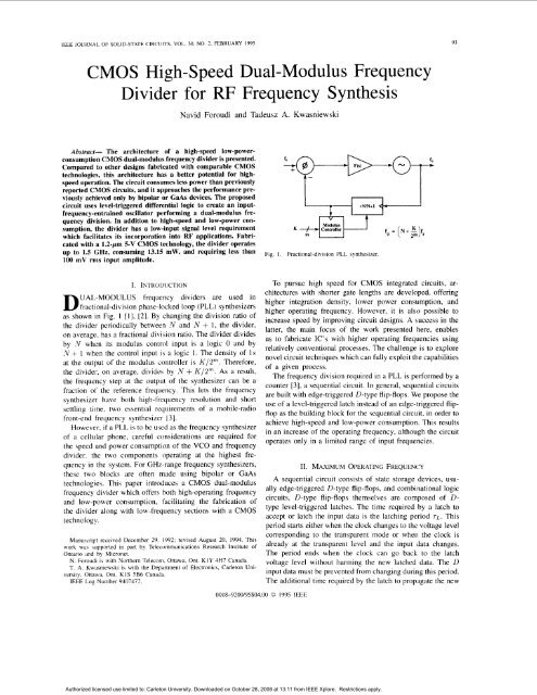 CMOS high-speed dual-modulus frequency divider for RF frequency