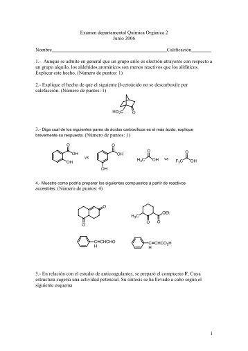 Examen departamental Química Orgánica 2 Junio 2006 ...