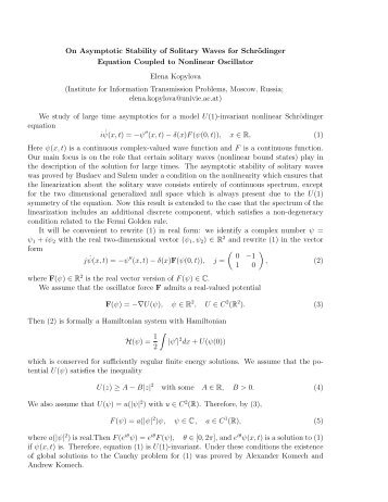 On asymptotic stability of solitary waves for Schrodinger equation ...