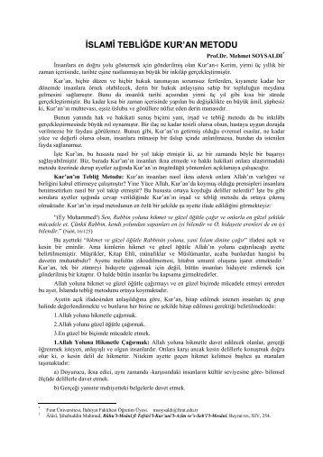 İSLAMÎ TEBLİĞDE KUR'AN METODU - Fırat Üniversitesi