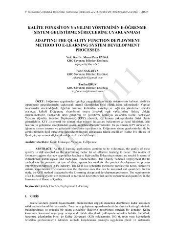 Kalite Fonksiyon Yayılımı Yöntemine E-Öğrenme ... - Fırat Üniversitesi