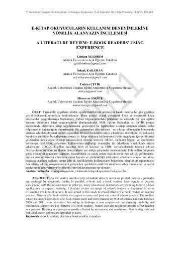 E-Kitap Okuyucularin Kullanim Deneyimlerine - Fırat Üniversitesi