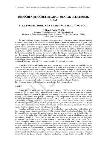 Bir Öğrenme-Öğretme Aracı Olarak Elektronik Kitap - Fırat Üniversitesi