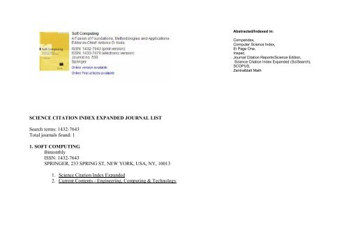 Science Citation Index Expanded Journal List Search