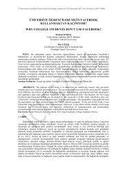 ÜNİVERSİTE ÖĞRENCİLERİ NİÇİN FACEBOOK ... - Fırat Üniversitesi